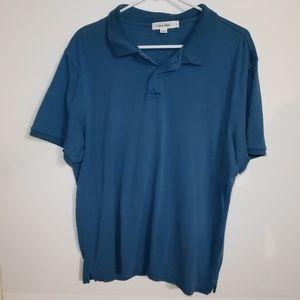 Men's Calvin Klein Solid Blue Short Sleeve Polo L
